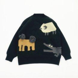 Wholesale lion sweater for sale – custom Children s Fun Jacquard pullover ancient sense handmade fur ball Zoo lion jacquard thick pullover sweater