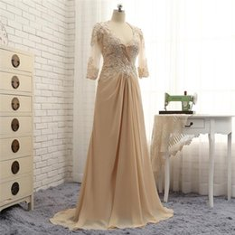 v neck wedding guest dress UK - 2018 waishidress champagne lace mother of the bride dresses custom v neck a line wedding guest dress long sleeves backless evening gowns