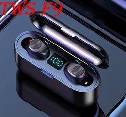 touch power bank NZ - F9 TWS Bluetooth Wireless Earphone 5.0 Headphone HiFi Stereo Earbuds LED Display Touch Control 2000mAh Power Bank Headset With Mic DHL free