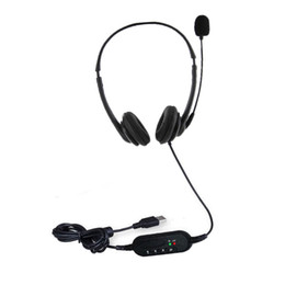Wholesale games center for sale - Group buy USB Headset with Microphone Noise Cancelling Computer PC USB Headphones Lightweight Wired Headphones for Call Center games
