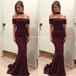 vintage velvet gown UK - Vintage Burgundy 2019 Prom Dresses Mermaid Off The Shoulder Simple Bodice Celebrity Party Gowns Cheap Plus Size Customized Robes