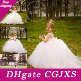 little bride wedding ball gowns images Australia - Miniature Bride White Flower Girl Dresses With Detachable Train Little Kids Girls Wedding Dress Party Prom Gowns Girl Pageant Dress