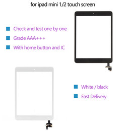 Wholesale Touch screen For iPad mini 1 2 Digitizer Assembly IC home button Flex Cable + adhesive sticker