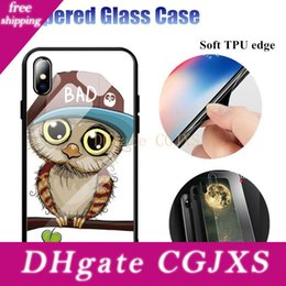cartoon tempered glass iphone UK - Beautiful Painted Cartoon Tempered Glass Phone Back Case Cover For Iphone 6 6s 7 8 Plus X Xs Max Xr Dhl Fast Shipping
