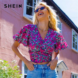 Wholesale ladies wrap blouses resale online - SHEIN Multicolor Floral Print Butterfly Sleeve Self Tie Wrap Crop Top Women Summer Short Sleeve Ladies Boho Tops and Blouses