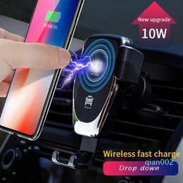 10W Qi Q12 Fast Charge Móvel Celular sem fio Car Mount Charger Phone Holder Black White 360 ​​Rotation