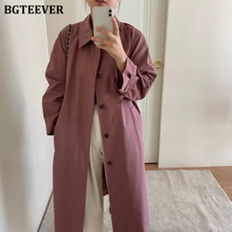 Wholesale vintage trench coats for women resale online - Bgteever Vintage Turn down Collar Single breasted Windbreaker for Women Autumn Ladies Full Sleeve Pocket Loose Trench Coats
