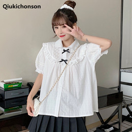 Wholesale tops for teens for sale - Group buy Kawaii Frilly White Shirts for Teen Girls Vintage Hollow Out Flower Embroidery Lace Patchwork Front Bowknot Puff Sleeve Tops