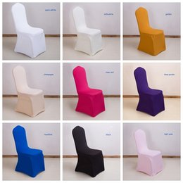 wholesale banquet seat covers UK - Stretch Chair Cover Solid Elastic Chair Seat Slipcover Plain Banquet Chair Cover Dining Room Wedding Party Hotel Decor 19 Colors YW191