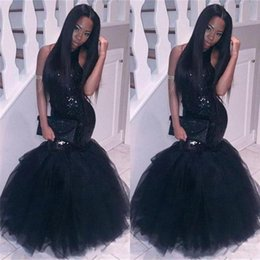 black girls elegant prom dresses UK - 2018 Elegant Black Girl Mermaid African Prom Dressesevening Wear Plus Size Long Sequined Sexy Backless Gownscheap Party Homecoming Dress