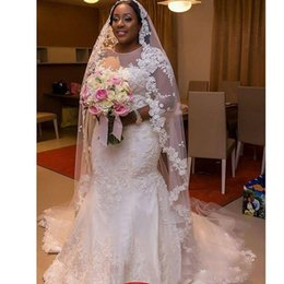 nigeria dresses UK - African Nigeria Sheer Neck Plus Size Wedding Dresses With Applique Mermaid Bridal Party Gown 3  4 Long Sleeve Wedding Gowns