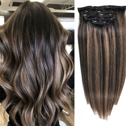 100% Real Remy Human Hair Clip in Hair Extensions Balayage #2 fading to #27 Highlight Skin Weft Straight Clip on Hair Extensions 120g on Sale