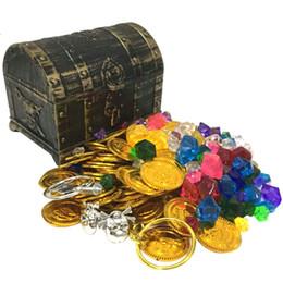Tesouro moedas capitão pirata festa pirata tesouro peito criança tesouro tesouro ouro moeda brinquedo em Promoção