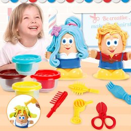 learning for infants UK - Kids Play Dough Creative Educational Toys Modeling Clay Plasticine Tool Kit DIY Design Hairstylist Model Toys For Children LJ200922