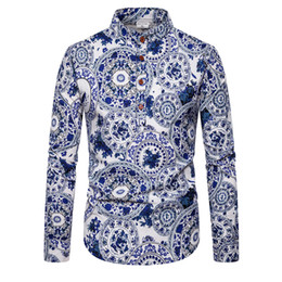 blue collar shirts Australia - New Designer Men Slim Fit Casual Shirts Blue and White Porcelain Print Turn-down Collar Long Sleeved Fashion Formal Dress Shirt Men Clothing