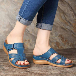 red roman sandals Australia - women's Summer sandals Wedges PU Leather Hook loop Sewing Female Roman Sandal for Ladies shoe Retro Sandalias Big size 41-44 Y200620