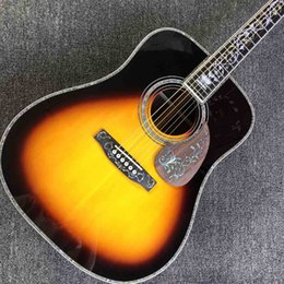 double guitars Australia - AAAA All Solid Dreadnaught Rosewood Fingerboard Acoustic Guitar in Sunburst