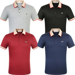 polo red white blue Australia - 2020 new mens polo shirt clothing for mens classic striped Black white red blue gray fashion embroidery print t shirt turn-down collar polo