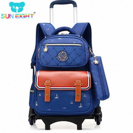 triple zipper bag Australia - SUN EIGHT Backpack For Boys And Girls Wheeled School Bag Trolley Luggage Triple Wheel Wheeled Bag School Backpack For Children Htdy#