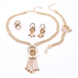 African Jewelry Sets Women Wedding Gold Plated Crystal Tassel Necklace Fashion Bridal Ring Bracelet Earrings Accessories