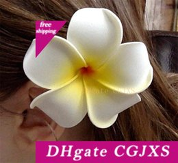 foam plumeria flower hair clips NZ - Hair Clip -50pc lot Nuolux Women's Girls Hawaiian Plumeria Foam Flower Hairpin DIY headwear PE frangipani hairpin White Yellow