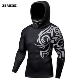 hooded long sleeve t shirt men Australia - Autumn New Men's Hooded with Mask Tight Long Sleeve Fitness Cycling Jogging Sportswear Quick-dry Compression T-shirt hoodies Jersey Tops