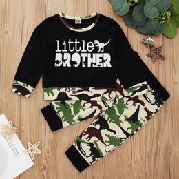 Wholesale brother prints online – design Baby Boys M Cotton little brother print long sleeve t shirt pants clothes set Kids dinosaur print outfits