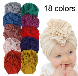 INS 18 Colors New Fashion Pleated Flower Baby Cap Elastic Cotton Solid Colors Hair accessories Beanie Cap Multi color Infant Turban Hats on Sale