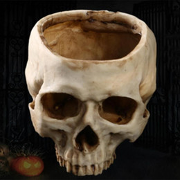 flower pot crafts Australia - Resin Crafts Human Tooth Skull Fossil Teaching Skeleton Model Halloween Home Office Flower Pot Planter Skull Pot Decoration Y200723