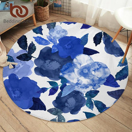 living room floor mats floral NZ - BeddingOutlet Flowers Bedroom Carpets Watercolor Art Round Area Rug for Living Room Leaf Floor Rug Blue Soft Play Mat 150cm