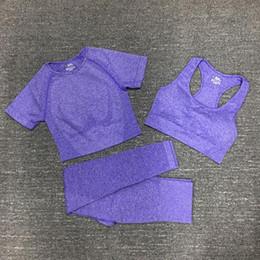 Wholesale discount fashion clothing for sale – custom Discount flame leggings lady gymshark fashion women denim leather womans sportwear pants new gym wear clothe yoga three piece set Tracksuits