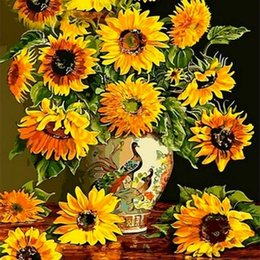 stitch paintings NZ - JMINE Div 5D Sunflower Flower Full Diamond Painting cross stitch kits art High Quality Floral 3D paint by diamonds 0922