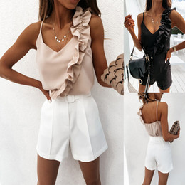 chemises dames achat en gros de-news_sitemap_homeHauts Casual Sexy col en V profond à volants Blouses femmes Chemisier été Backless Spaghetti Strap Chemises Ladies