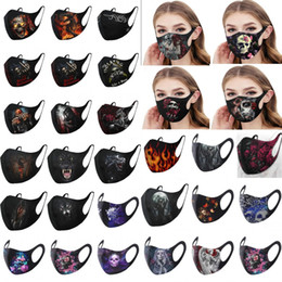 Wholesale chinese dressing for sale - Group buy 2020 New Cute Styles Halloween Party Masks Washable Reusable Adults Cotton Face Masks D Printed Ghost Jolly Skull Horror Masks FY9185