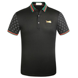 floral polo UK - SS designer ff629 stripe polo shirt t shirts snake polos bee floral embroidery mens High street fashion horse