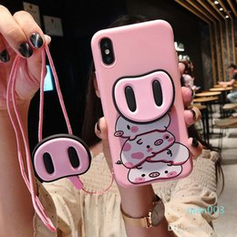 funny phone holders UK - Fashion 3D Stand Holder funny pig nose Pink silicone phone case for iphone 11 Pro Max 7 8 plus X XR XS MAX Cover Capa