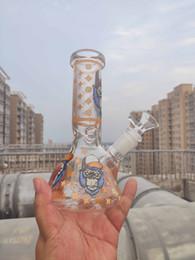 Wholesale types monkeys online – design 8 Inch CM Glow In the Dark Smoking Orange Monkey Gorilla Glass Beaker Bong Halloween Hookah Water Pipe Dab Rig Percolator Glass