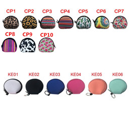 Wholesale Neoprene Waterproof Zipped Coin Pouch Mask Holder Earbud Case with Keyring Earphone Pouch for Kids