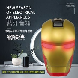 computer iron man NZ - Cartoon Iron Man Bluetooth Speaker Transformers Subwoofer Portable Card Wireless Computer Iron Man Small Speaker free delivery With light