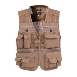Wholesale fashion tactical vest for sale - Group buy Men Large Size XL XL Tactical Vest Casual Vest Male Multi Pocket Fashion Waistcoats High Quality Grid Breathable Fishing