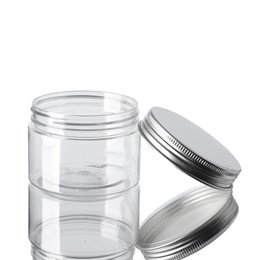spice bottle lids Australia - 60ml Plastic Jars Transparent PET Plastic Storage Cans Bins Round Bottle With Aluminum Lids Empty Cosmetic Jar Container GGA3644-6