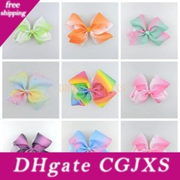 cheerleader accessories Australia - 100pcs Baby Girl Jeweled Pastel Ombre Ribbon 18cm Signature Hair Bows Clips Rainbow Rhinestone Dance Cheerleader Pageant Accessories Hd3474