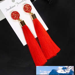 Discount long red dangle earrings Red Tassel Earrings With Rose Flower Charm Stud Earrings Gold Color Bohemian Long Dangle Earrings For Women