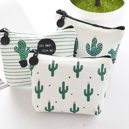 coin holder wholesale UK - Desert Cactus coin purse key bag candy storage card candy storage card holder clutch bag