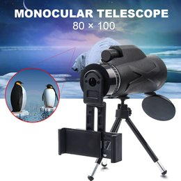telescope monocular for phone UK - 3 Styles 80X100 Monocular Zoom Portable Prism BAK4 Optical Telescope with Phone Clip with Tripod For Hunting Camping Spotting LJ200904