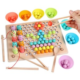 games brain training UK - Kids Montessori Wooden Hands Brain Training Clip Beads Puzzle Board Math Game Baby Early Educational Toys for Children Y200414