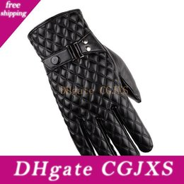 men fur leather gloves NZ - 2018 Best Seller Men ' ;S Gloves Pu Leather Winter Outdoor Glove Fur Warm Stitching Touch Screen Black Gloves Button Decoration