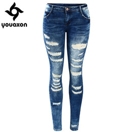 Wholesale jeans women low rise resale online - 2045 Youaxon Women s Fashion Blue Low Rise Skinny Distressed Washed Stretch Denim Jeans For Women Ripped Pants CX200815