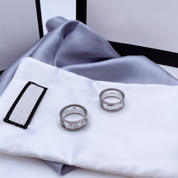 Letter Interweaving Pattern Ring 925 Sterling Silver Ring Old Carved Rough Lace Ring Simple and Versatile Fashion Jewelry on Sale