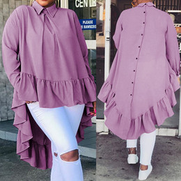 ruffle back blouse Australia - Celmia Women Asymmetrical Tops 2020 Fashion Solid Back Buttons Ruffles Shirts Long Sleeve Lapel Casual Blouses Ladies Blusas 5XL T200808